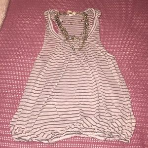Free people creme stripped flowy top